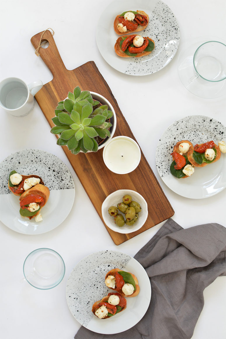 DIY white and speckled tableware for chic meals (via www.burkatron.com)