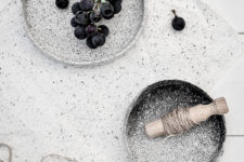 DIY black and white speckled pottery