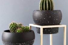 DIY black and white speckled planters