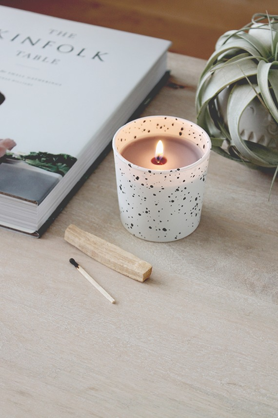 DIY black and white speckled candles