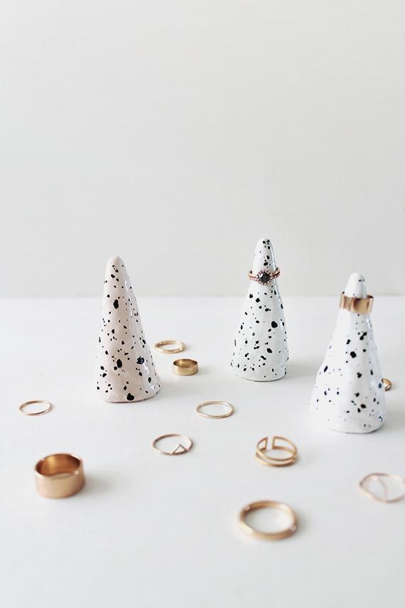 DIY speckled faux ceramic ring cones