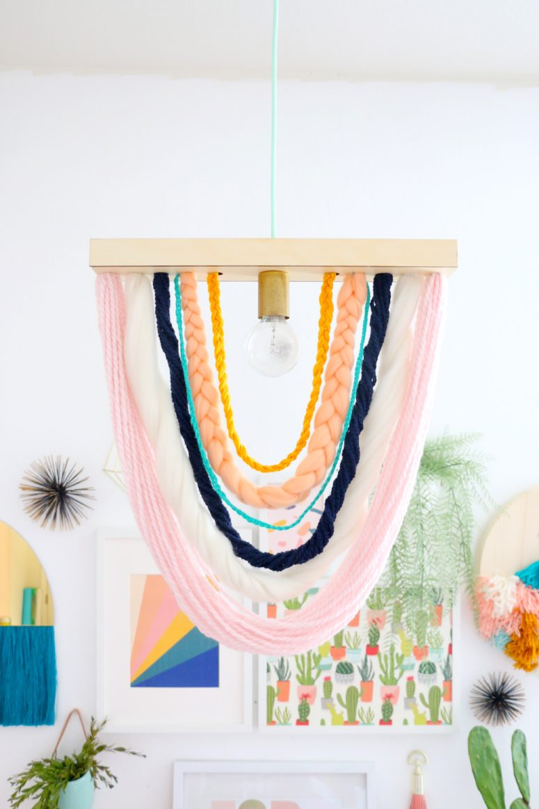 DIY colorful braided yarn pendant light (via undefined)