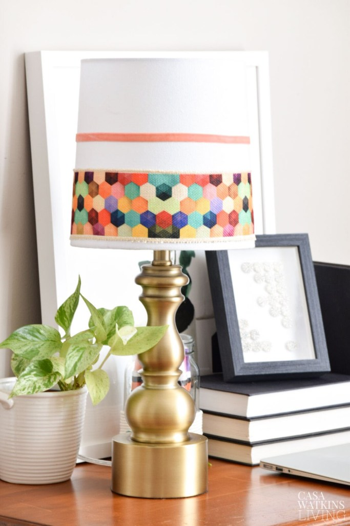 DIY colorful hex patchwork lampshade