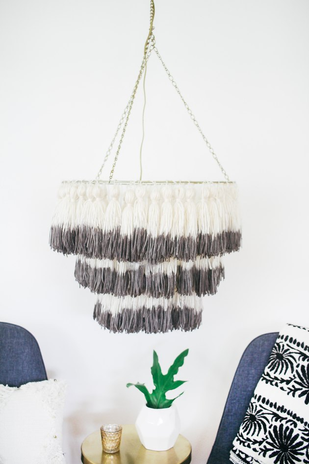 DIY dipped boho tassel chandelier  (via undefined)