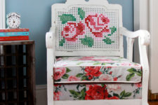 DIY renovated cane chair with an embroidered back