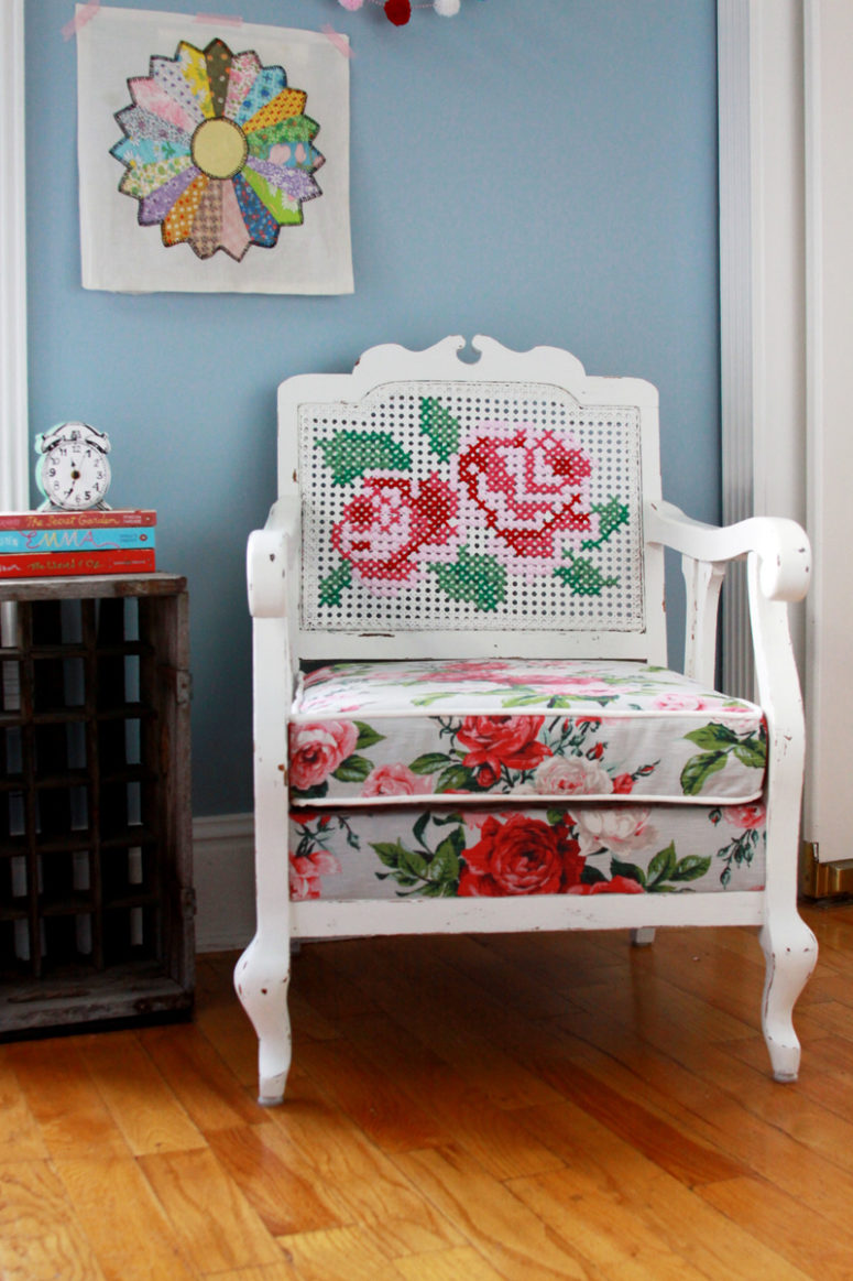 DIY renovated cane chair with an embroidered back (via undefined)