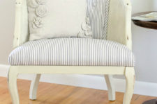 DIY tufted cane chair transformation into a refined vintage piece