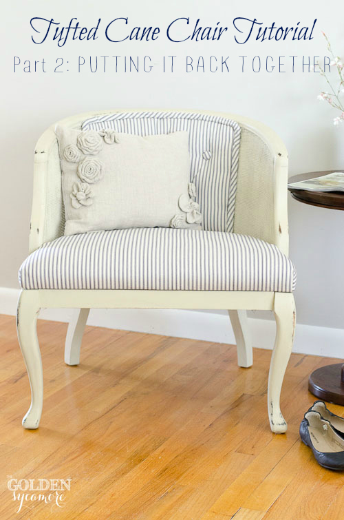 DIY tufted cane chair transformation into a refined vintage piece (via undefined)