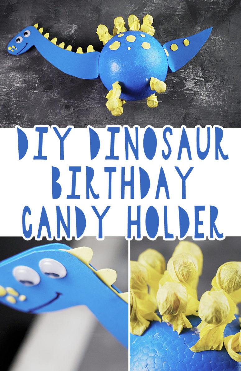 DIY Dinosaur Birthday Candy Holder [Free Template]