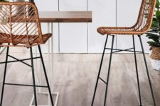 02 these catchy and stylish rattan stools are done with a cheveron pattern, which adds to their look