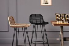 03 stylish modern rattan chairs of various basic colors will complete any bar space