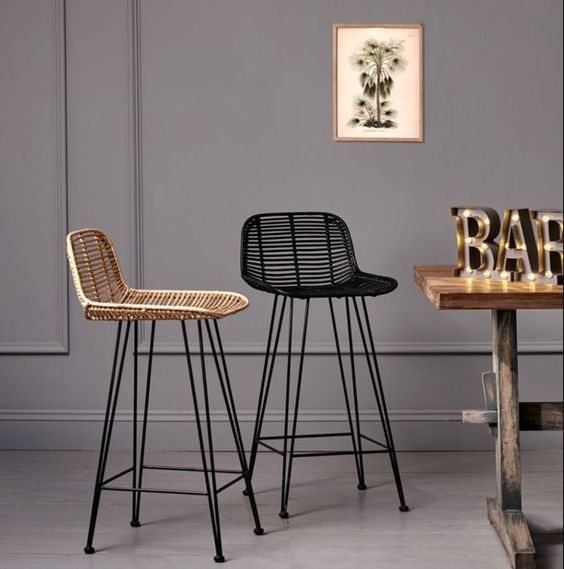 stylish modern rattan chairs of various basic colors will complete any bar space