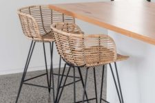 07 super stylish stools of black metal and rattan will instantly make your breakfast nook or bar space bold and chic