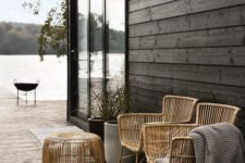08 tall rattan chairs and a matching side table can be used both indoors and outdoors