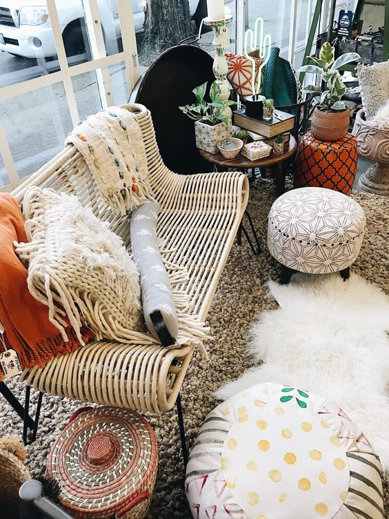 a catchy boho rattan bench on hairpin legs can be a nice fit for a modern or boho space