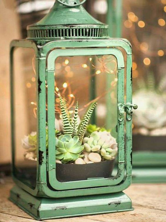 a green vintage lantern with a succulent garden, pebbles and LED lights over it