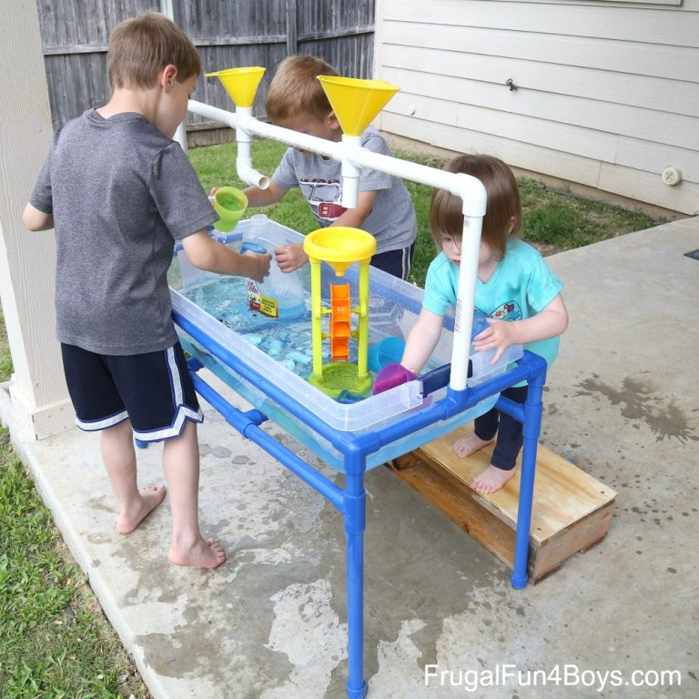 DIY PVC pipe sand and water table (via frugalfun4boys.com)