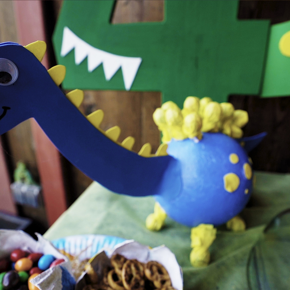 diy dinosaur birthday candy holder