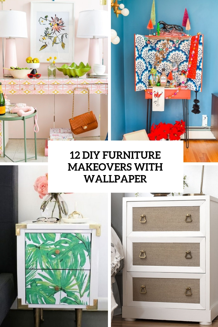 diy furniture makeovers with wallpaper cover