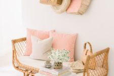13 a gorgeous rattan bench with a cushion and some pillows inside will be a perfect fit for any space