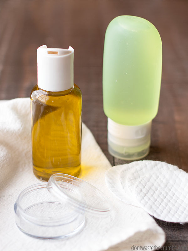 DIY natural eye makeup remover with various oils
