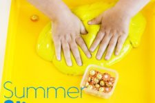DIY bright yellow summer slime