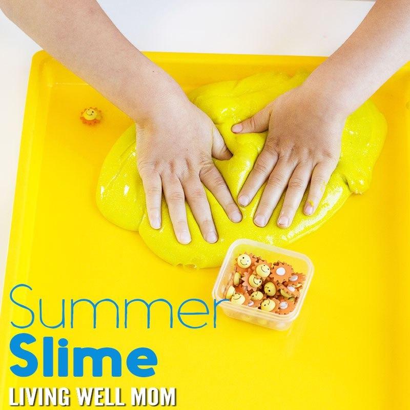 DIY bright yellow summer slime