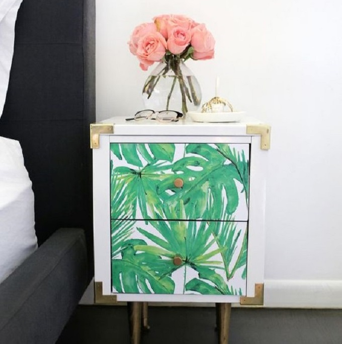 DIY tropical leaf wallpaper nighstand makeover (via www.coolcrafts.com)