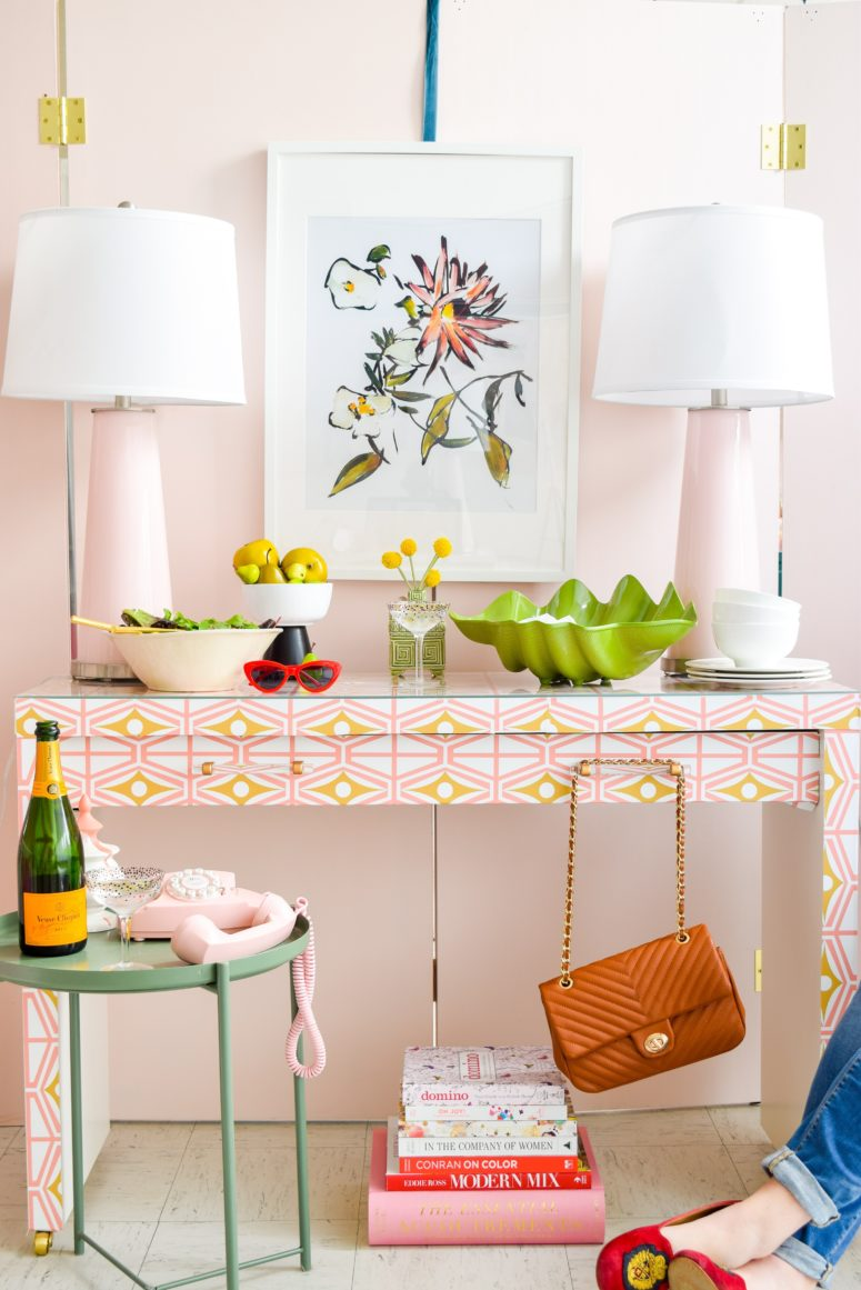 DIY IKEA makeup table hack with bright wallpaper (via www.pmqfortwo.com)