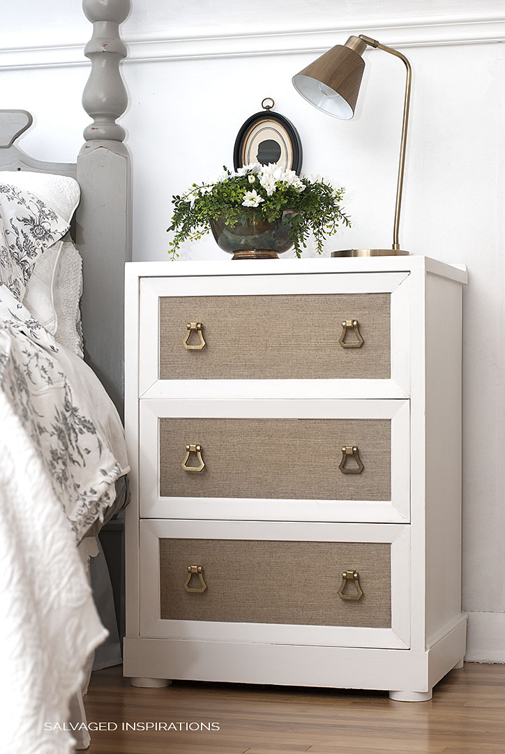 DIY bedroom nightstand renovated with grasscloth paper (via salvagedinspirations.com)