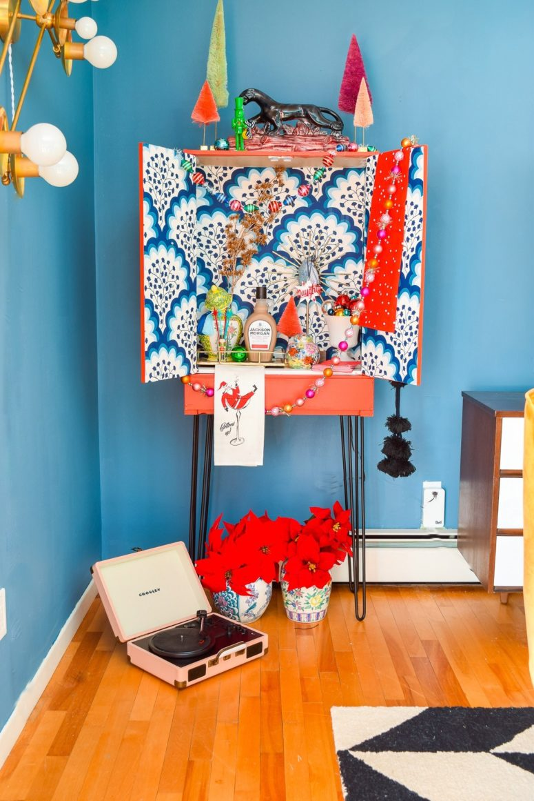DIY super colorful mid-century modern cabinet makeover with wallpaper (via www.pmqfortwo.com)