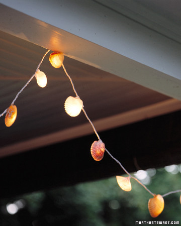 DIY seashell lights for a beachy feel outdoors (via www.marthastewart.com)