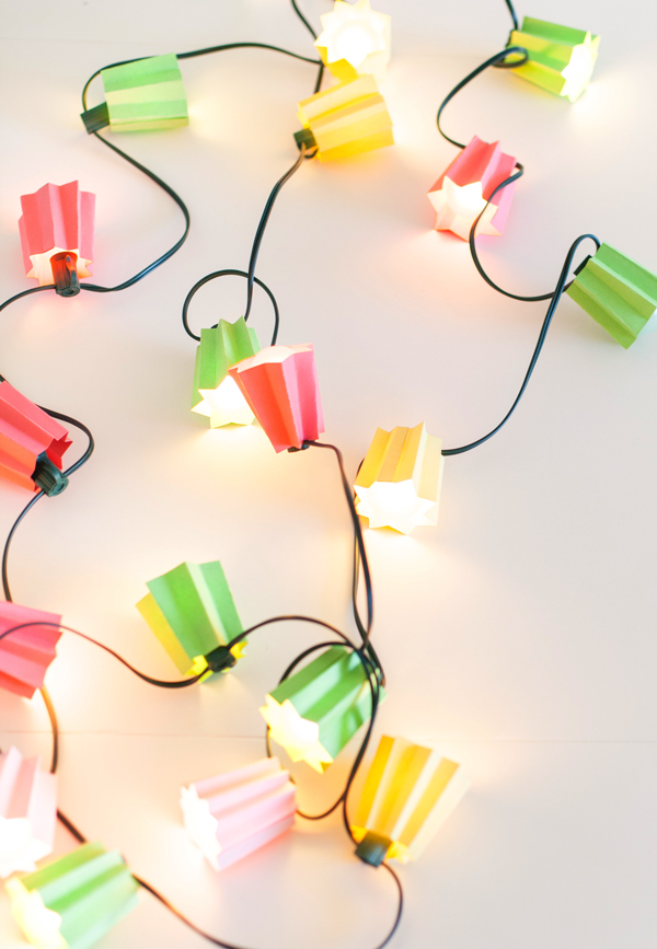 DIY colorful paper folded light strands for summer (via asubtlerevelry.com)