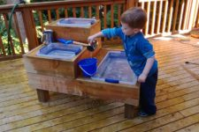 DIY custom made water table with three reservoirs
