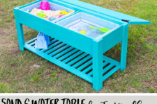 DIY sand and water table with a chalkboard lid