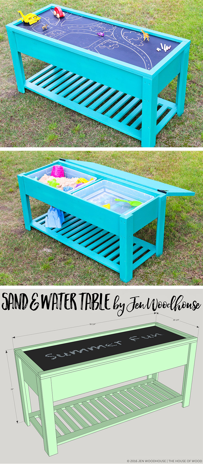DIY sand and water table with a chalkboard lid (via jenwoodhouse.com)