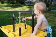 DIY water table with PVC pipes