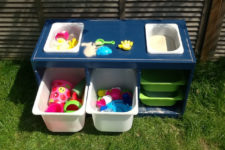 DIY water table with storage using IKEA Trofast bowls