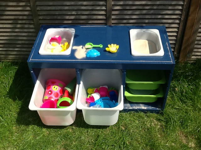 DIY water table with storage using IKEA Trofast bowls (via www.ikeahackers.net)