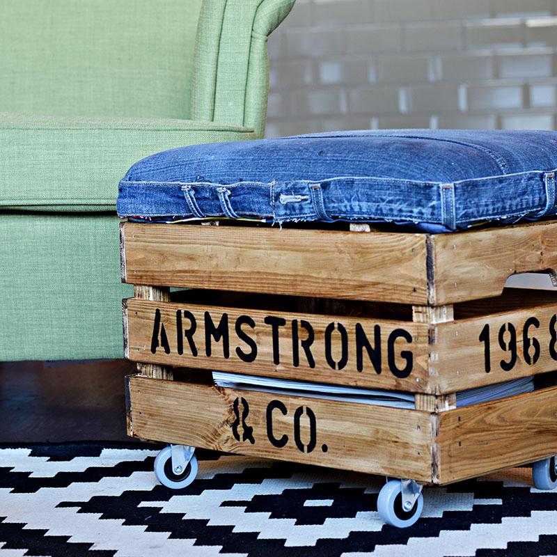 DIY rustic denim ottoman of an IKEA Knagglig box on casters