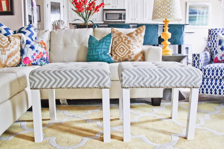 chic and elegant DIY ottomans of IKEA Lack tables (via myfrugaldime.blogspot.com)
