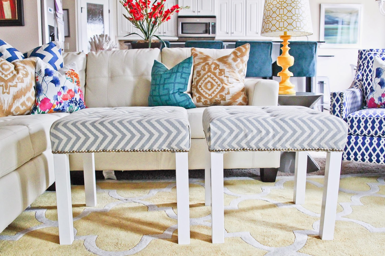 chic and elegant DIY ottomans of IKEA Lack tables