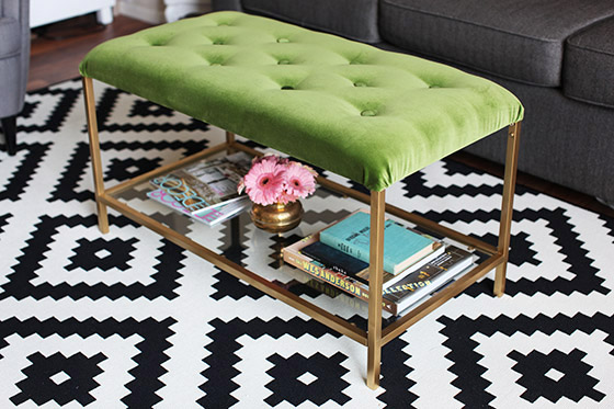 DIY velvet tufted ottoman made of an IKEA Vittsjo table