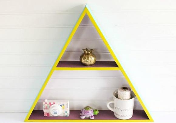 DIY colorblock tirangle shelf for a bright touch (via decoart.com)