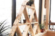 DIY pine triangle shelf made of multiple smaller ones