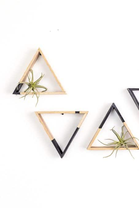 DIY mini triangle shelves with touches of black (via acraftedpassion.com)
