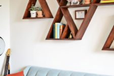 DIY stained triangle shelves with a mid-century modern feel