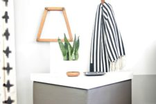DIY leather upholstered geometric tables with storage