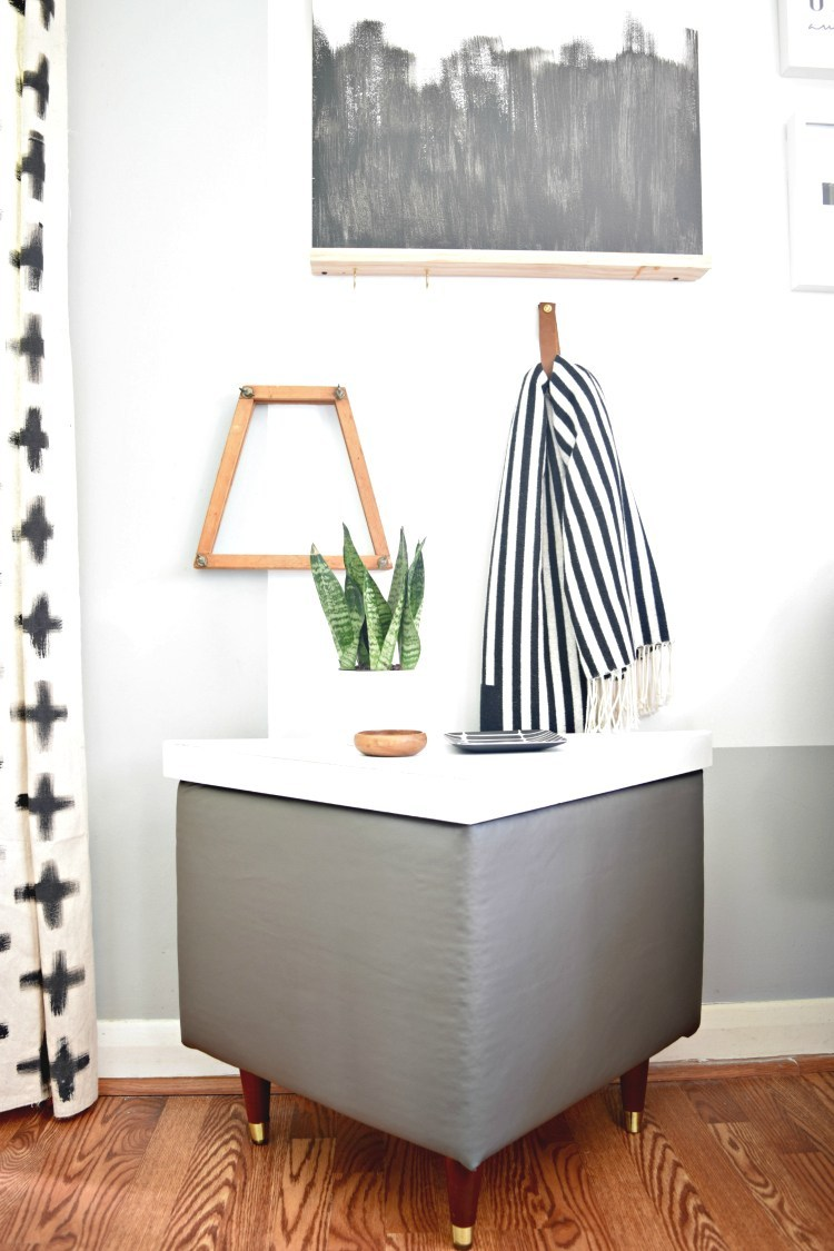 DIY leather upholstered geometric tables with storage (via houseologie.com)