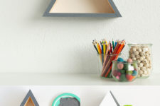 DIY triangle shelves in 5 different ways